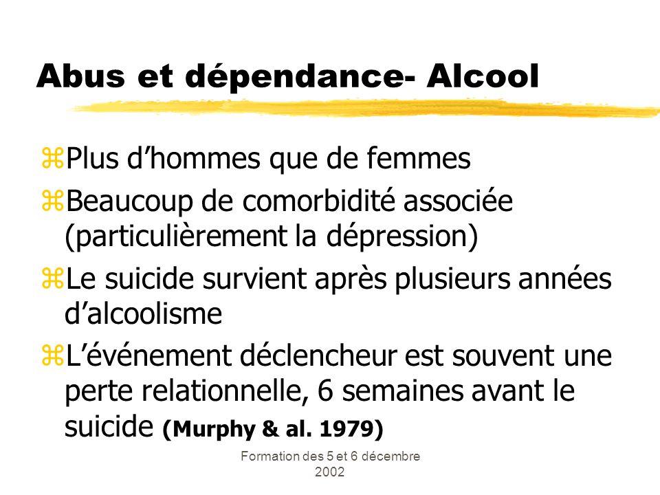 Formation des 5 et 6 décembre 2002 Abus et dépendance- Alcool zPlus dhommes que de femmes zBeaucoup de comorbidité associée (particulièrement la dépre