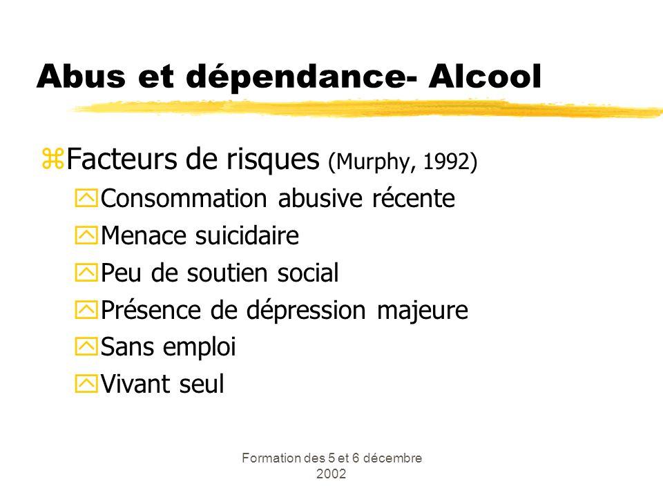 Formation des 5 et 6 décembre 2002 Abus et dépendance- Alcool zFacteurs de risques (Murphy, 1992) yConsommation abusive récente yMenace suicidaire yPe