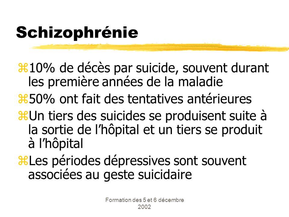 Formation des 5 et 6 décembre 2002 Schizophrénie z10% de décès par suicide, souvent durant les première années de la maladie z50% ont fait des tentati