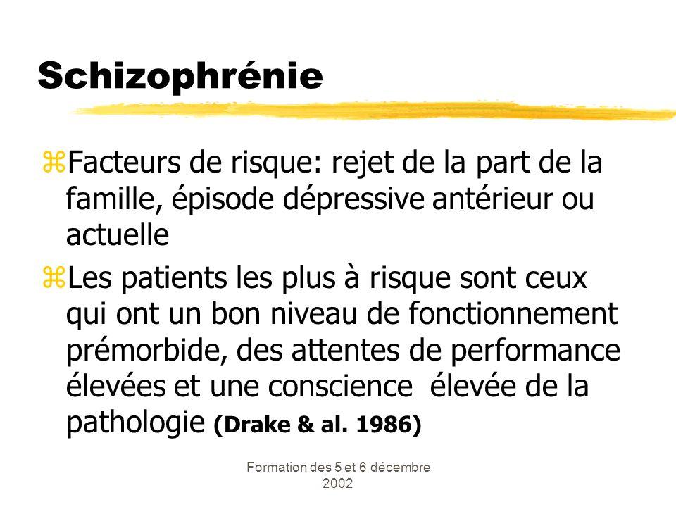 Formation des 5 et 6 décembre 2002 Schizophrénie zFacteurs de risque: rejet de la part de la famille, épisode dépressive antérieur ou actuelle zLes pa
