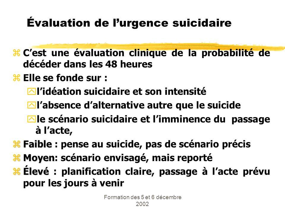 Formation des 5 et 6 décembre 2002 Évaluation de lurgence suicidaire zCest une évaluation clinique de la probabilité de décéder dans les 48 heures zEl