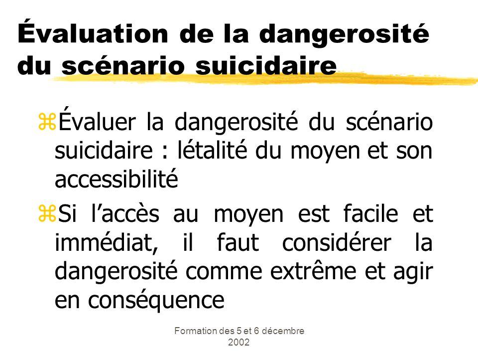 Formation des 5 et 6 décembre 2002 Évaluation de la dangerosité du scénario suicidaire zÉvaluer la dangerosité du scénario suicidaire : létalité du mo