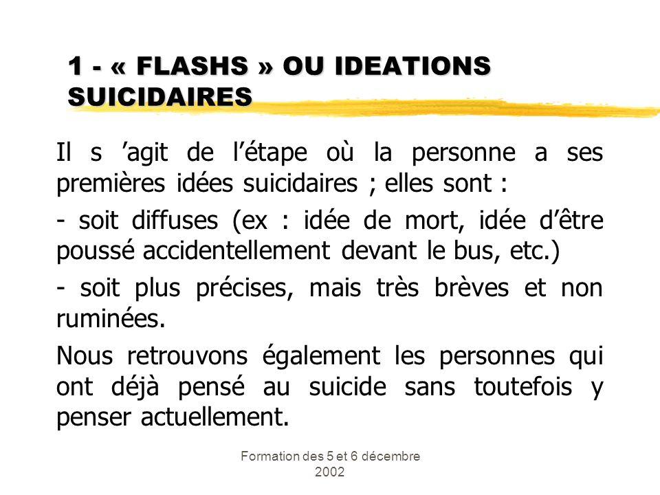 Formation des 5 et 6 décembre 2002 1 - « FLASHS » OU IDEATIONS SUICIDAIRES Il s agit de létape où la personne a ses premières idées suicidaires ; elle