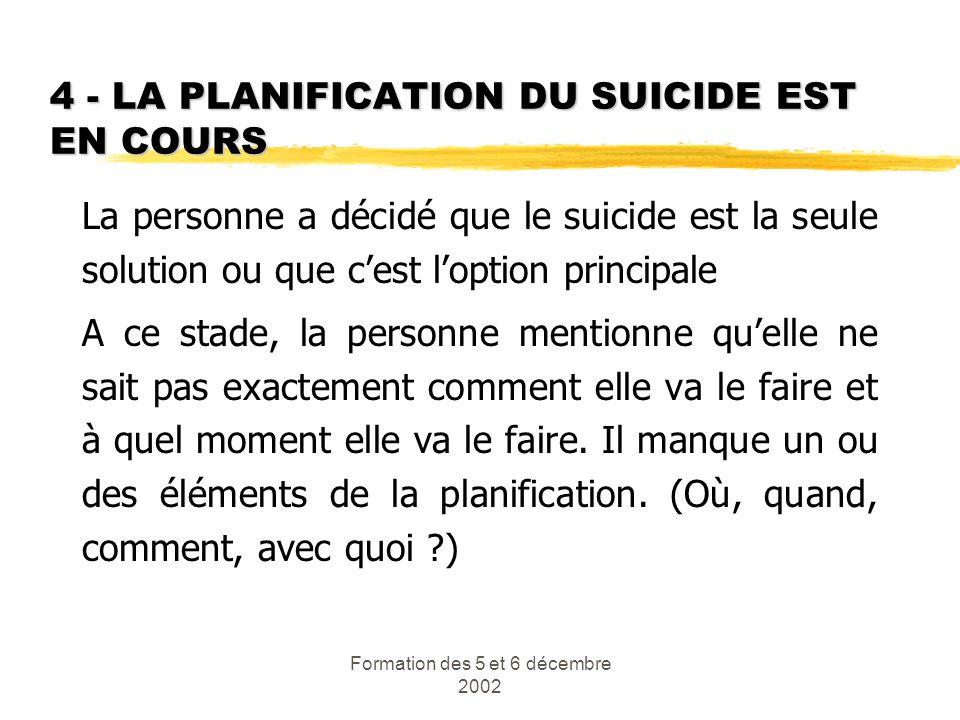 Formation des 5 et 6 décembre 2002 4 - LA PLANIFICATION DU SUICIDE EST EN COURS La personne a décidé que le suicide est la seule solution ou que cest