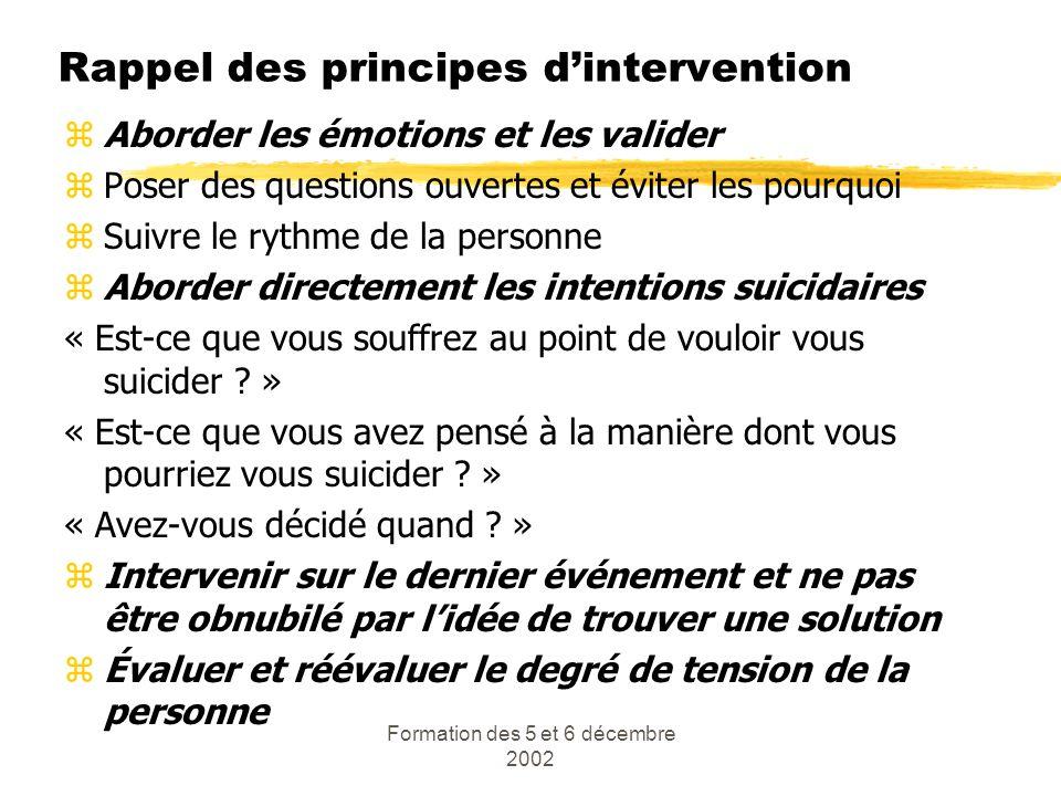 Formation des 5 et 6 décembre 2002 Rappel des principes dintervention zAborder les émotions et les valider zPoser des questions ouvertes et éviter les