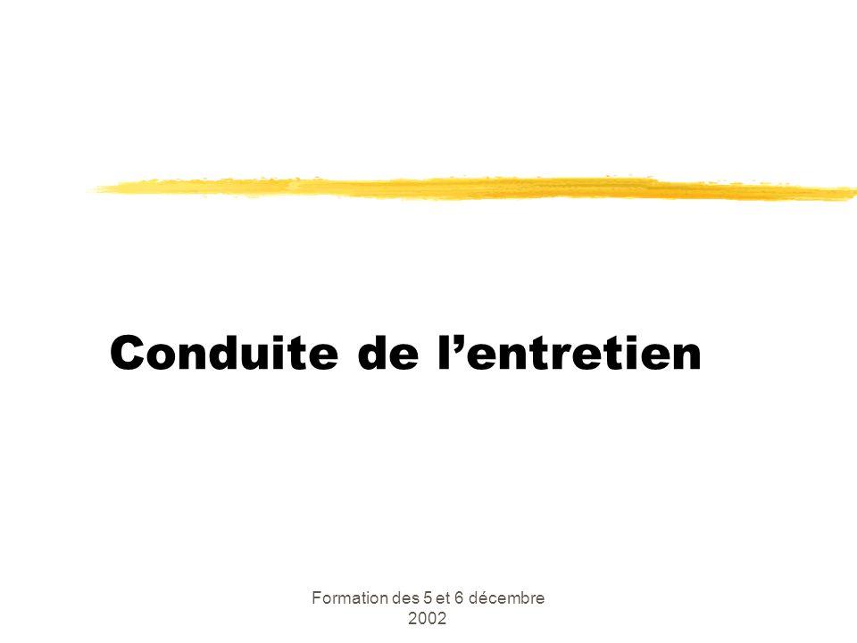 Formation des 5 et 6 décembre 2002 Conduite de lentretien