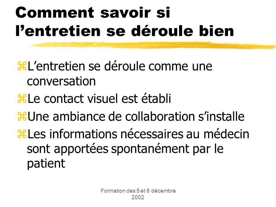 Formation des 5 et 6 décembre 2002 Comment savoir si lentretien se déroule bien zLentretien se déroule comme une conversation zLe contact visuel est é
