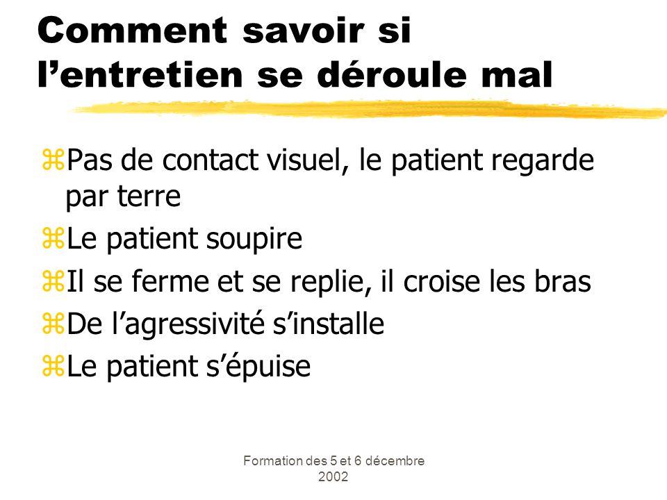 Formation des 5 et 6 décembre 2002 Comment savoir si lentretien se déroule mal zPas de contact visuel, le patient regarde par terre zLe patient soupir