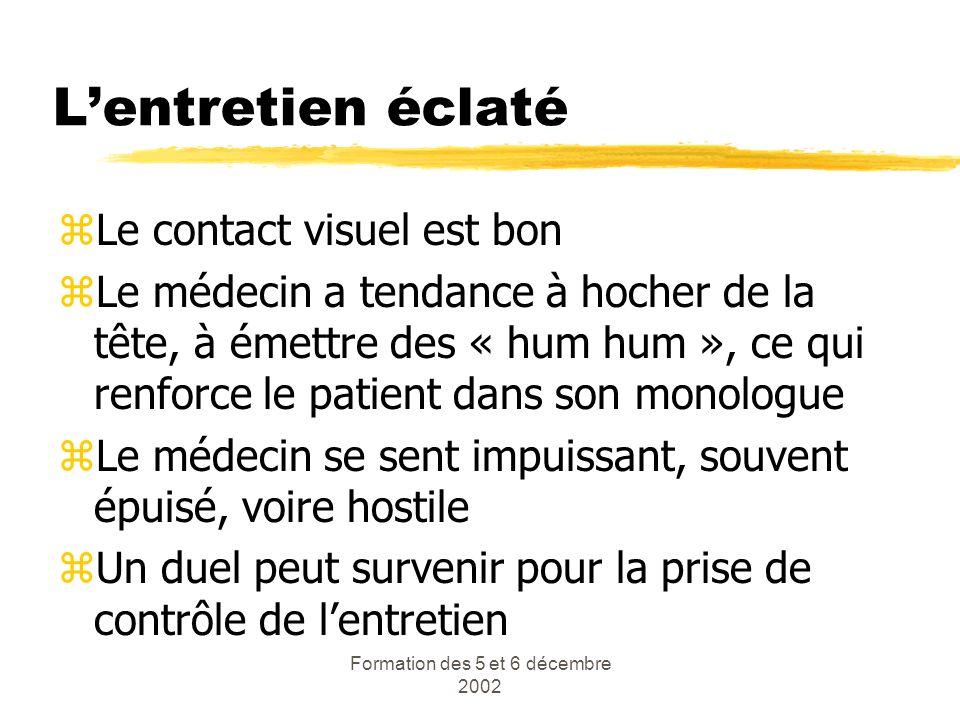 Formation des 5 et 6 décembre 2002 Lentretien éclaté zLe contact visuel est bon zLe médecin a tendance à hocher de la tête, à émettre des « hum hum »,