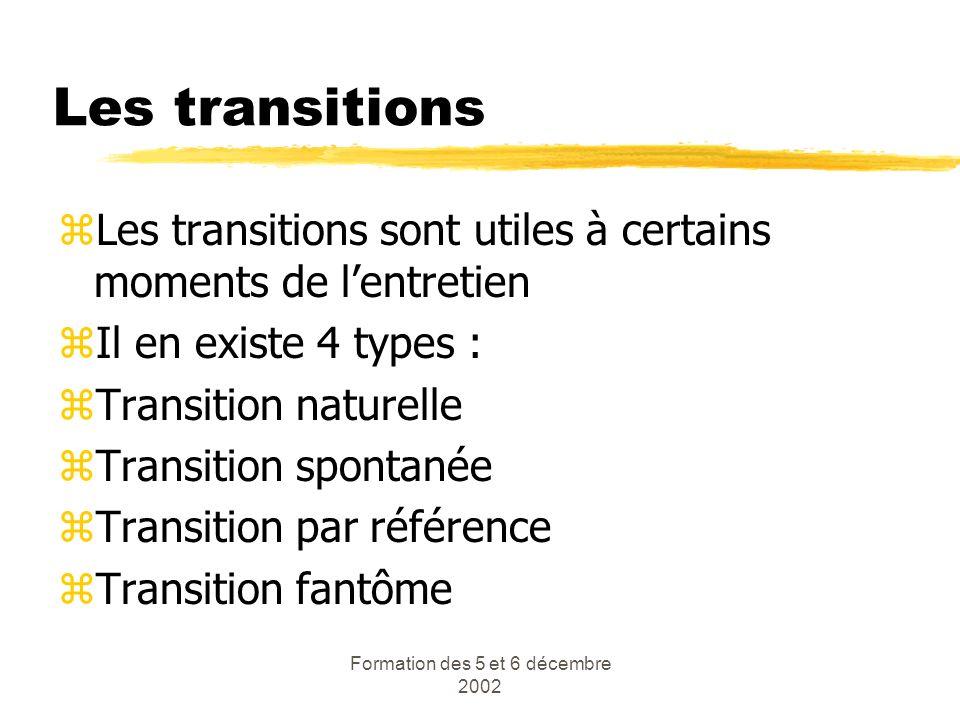 Formation des 5 et 6 décembre 2002 Les transitions zLes transitions sont utiles à certains moments de lentretien zIl en existe 4 types : zTransition n