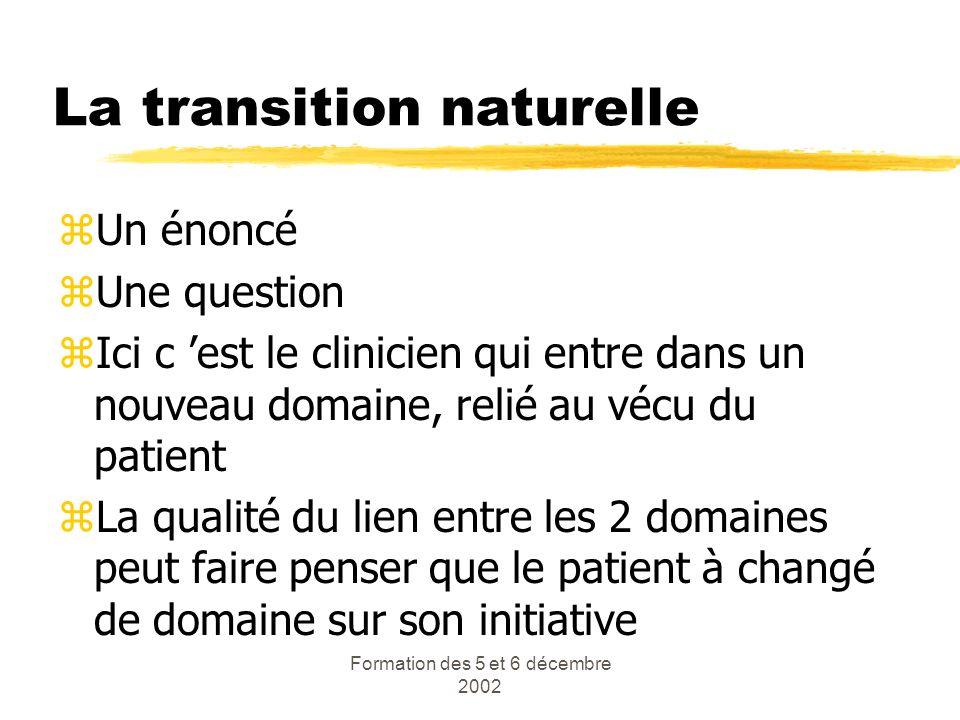Formation des 5 et 6 décembre 2002 La transition naturelle zUn énoncé zUne question zIci c est le clinicien qui entre dans un nouveau domaine, relié a