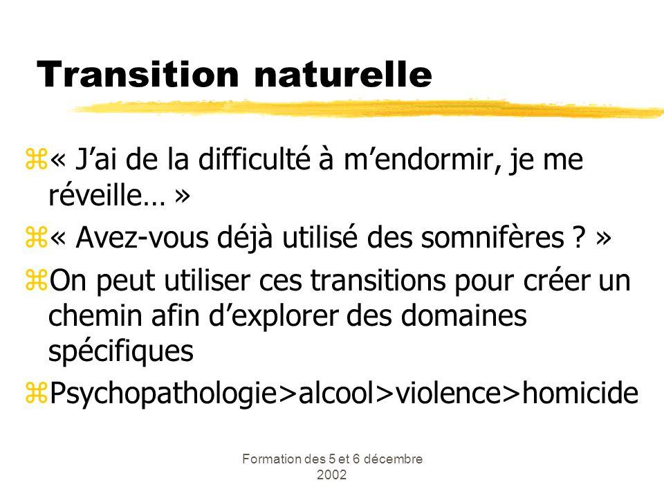 Formation des 5 et 6 décembre 2002 Transition naturelle z« Jai de la difficulté à mendormir, je me réveille… » z« Avez-vous déjà utilisé des somnifère