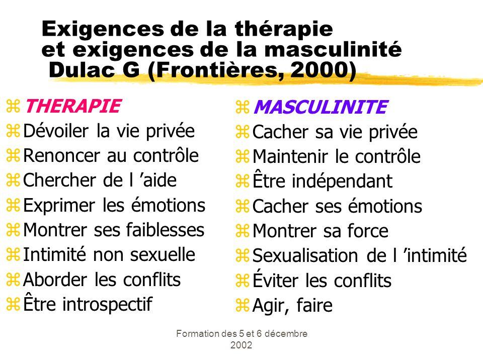 Formation des 5 et 6 décembre 2002 Exigences de la thérapie et exigences de la masculinité Dulac G (Frontières, 2000) zTHERAPIE zDévoiler la vie privé