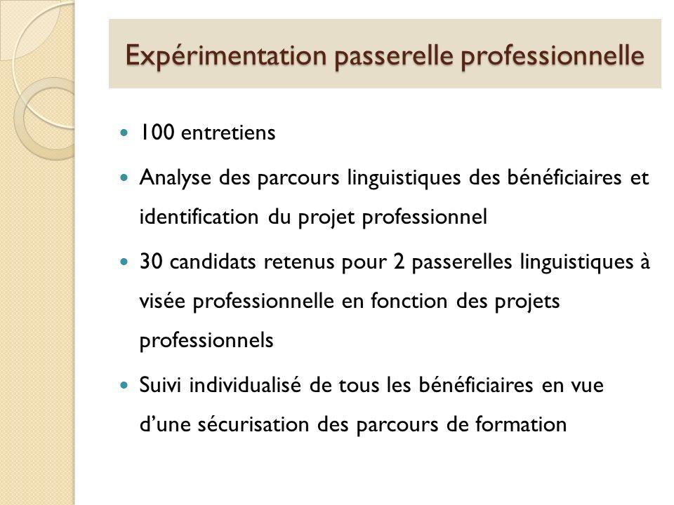 Expérimentation passerelle professionnelle 100 entretiens Analyse des parcours linguistiques des bénéficiaires et identification du projet professionn