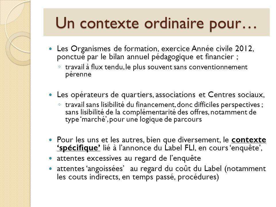 Un contexte ordinaire pour… Les Organismes de formation, exercice Année civile 2012, ponctué par le bilan annuel pédagogique et financier ; travail à