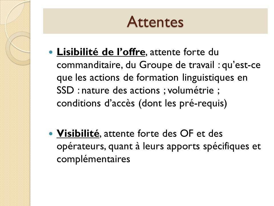 Attentes Lisibilité de loffre, attente forte du commanditaire, du Groupe de travail : quest-ce que les actions de formation linguistiques en SSD : nat