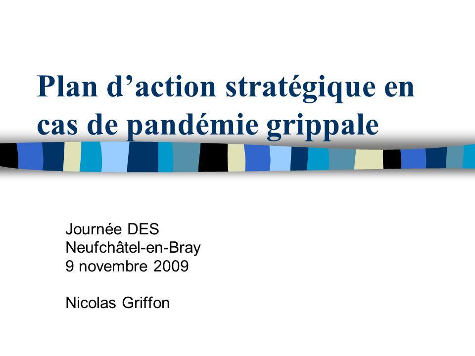 Plan daction stratégique en cas de pandémie grippale Journée DES Neufchâtel-en-Bray 9 novembre 2009 Nicolas Griffon
