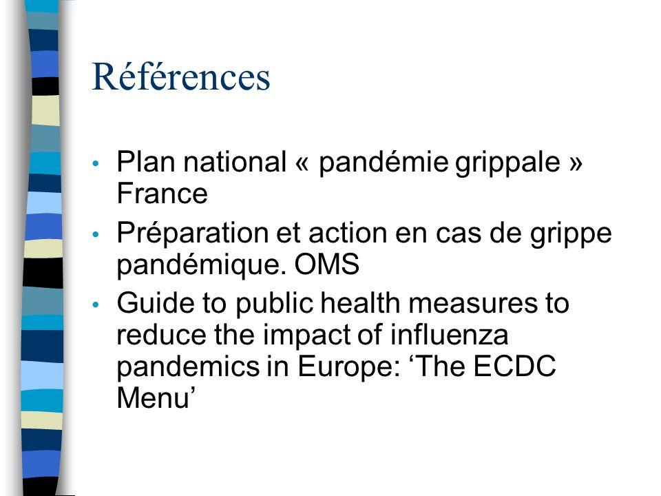 Références Plan national « pandémie grippale » France Préparation et action en cas de grippe pandémique.