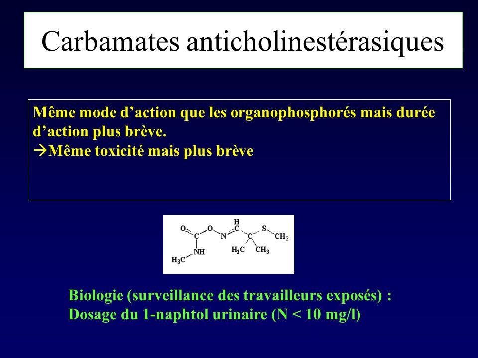 Carbamates anticholinestérasiques Même mode daction que les organophosphorés mais durée daction plus brève. Même toxicité mais plus brève Biologie (su