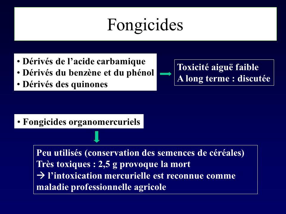 Fongicides Dérivés de lacide carbamique Dérivés du benzène et du phénol Dérivés des quinones Toxicité aiguë faible A long terme : discutée Fongicides