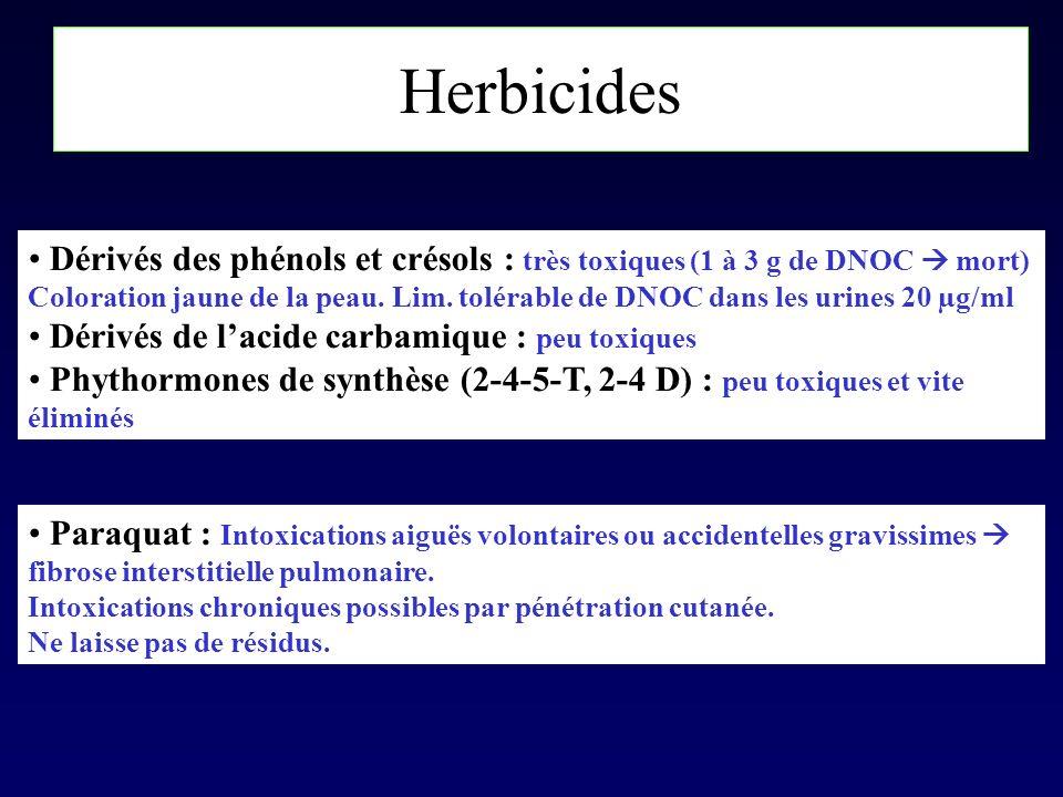 Herbicides Dérivés des phénols et crésols : très toxiques (1 à 3 g de DNOC mort) Coloration jaune de la peau. Lim. tolérable de DNOC dans les urines 2
