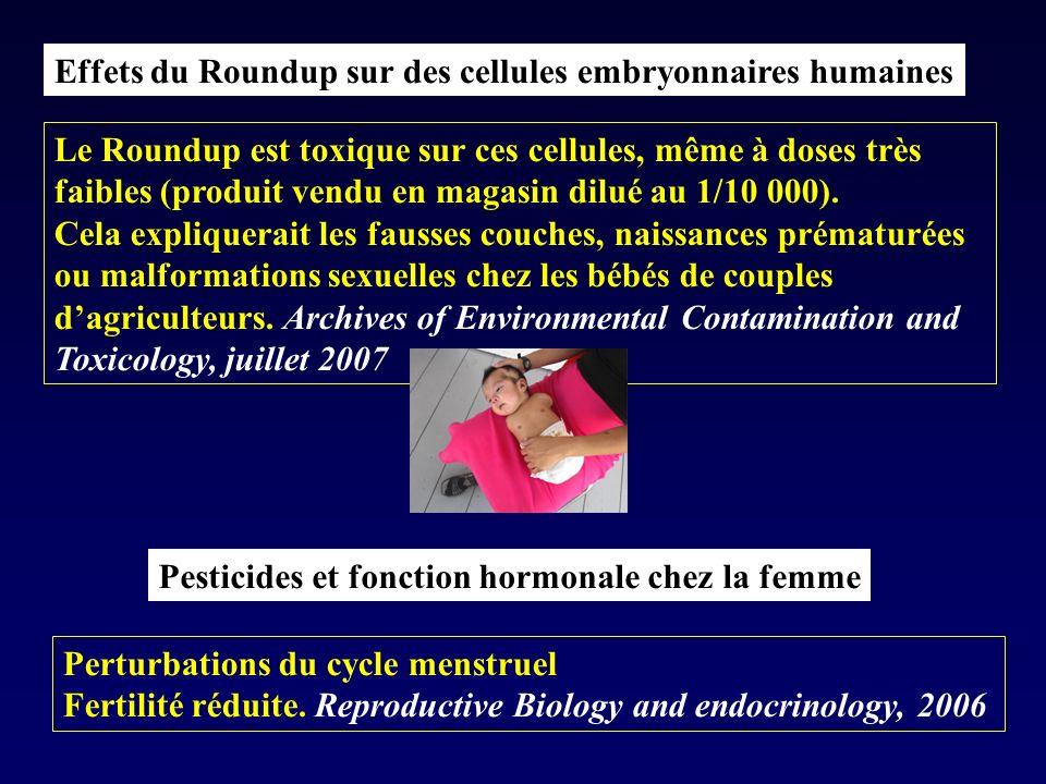 Effets du Roundup sur des cellules embryonnaires humaines Le Roundup est toxique sur ces cellules, même à doses très faibles (produit vendu en magasin