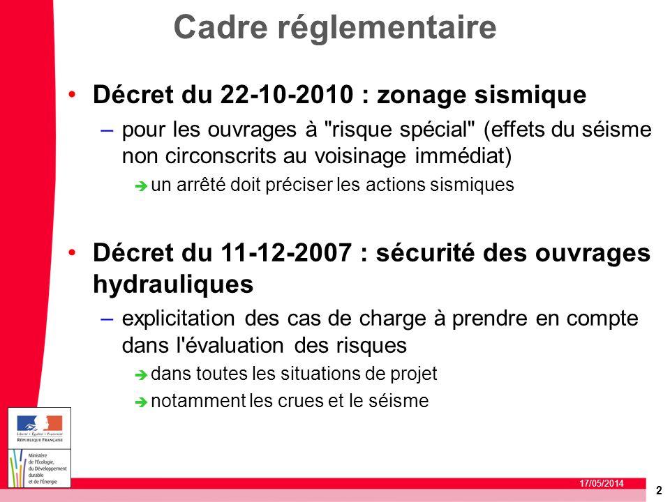 2 17/05/2014 Cadre réglementaire Décret du 22-10-2010 : zonage sismique –pour les ouvrages à