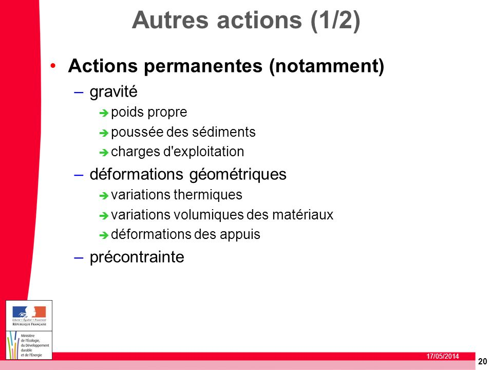 20 17/05/2014 Autres actions (1/2) Actions permanentes (notamment) –gravité poids propre poussée des sédiments charges d'exploitation –déformations gé