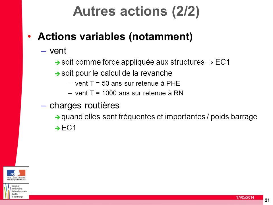 21 17/05/2014 Autres actions (2/2) Actions variables (notamment) –vent soit comme force appliquée aux structures EC1 soit pour le calcul de la revanch