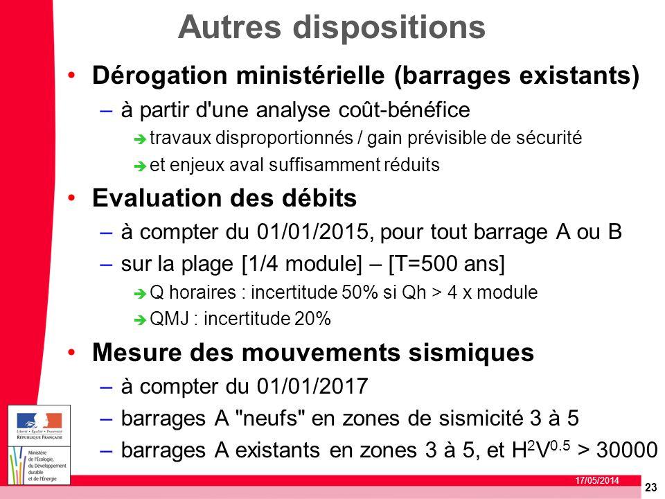 23 17/05/2014 Autres dispositions Dérogation ministérielle (barrages existants) –à partir d'une analyse coût-bénéfice travaux disproportionnés / gain