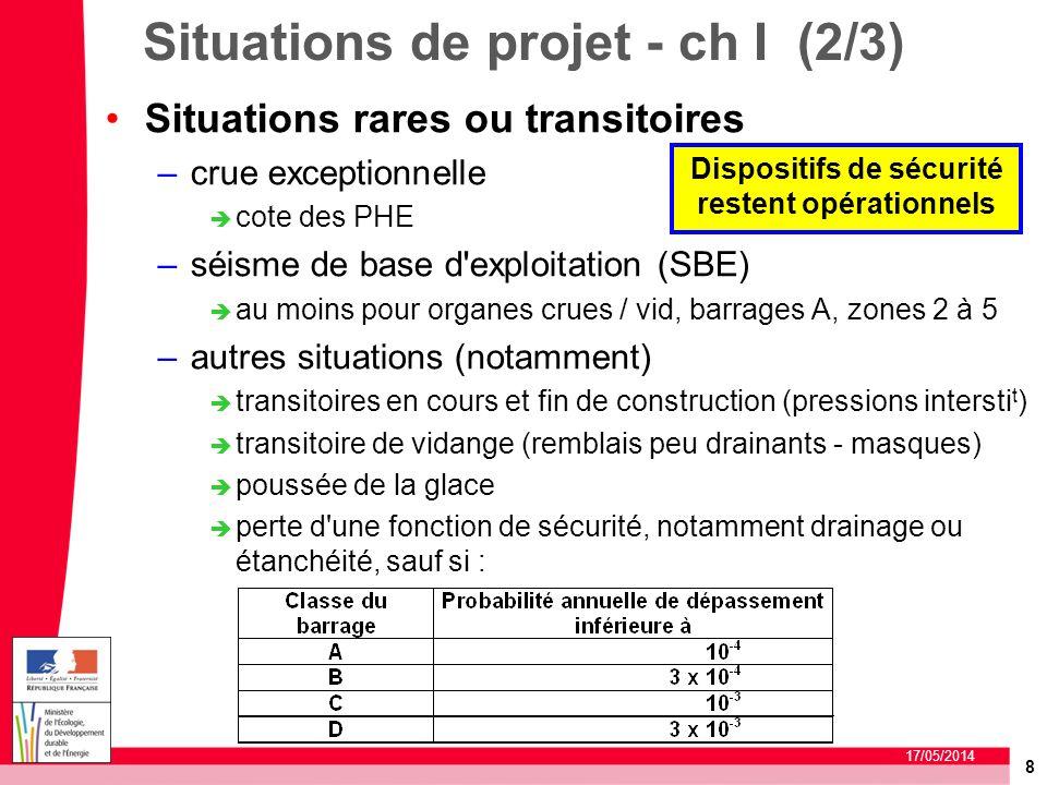 8 17/05/2014 Situations de projet - ch I (2/3) Situations rares ou transitoires –crue exceptionnelle cote des PHE –séisme de base d'exploitation (SBE)