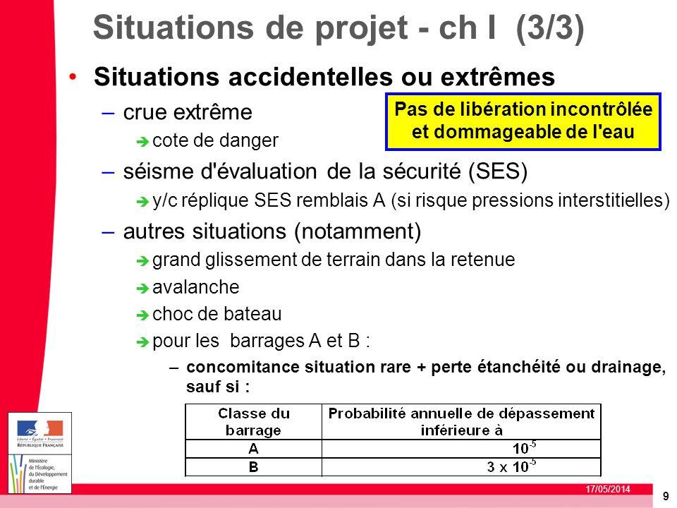 9 17/05/2014 Situations de projet - ch I (3/3) Situations accidentelles ou extrêmes –crue extrême cote de danger –séisme d'évaluation de la sécurité (