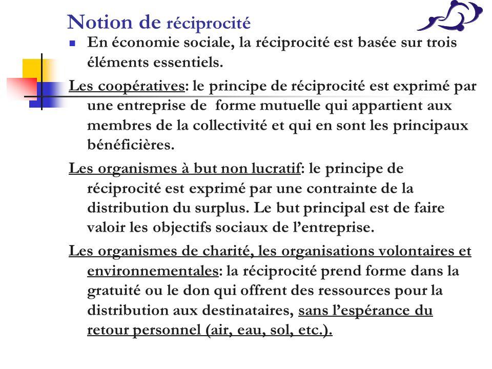 Notion de réciprocité En économie sociale, la réciprocité est basée sur trois éléments essentiels. Les coopératives: le principe de réciprocité est ex