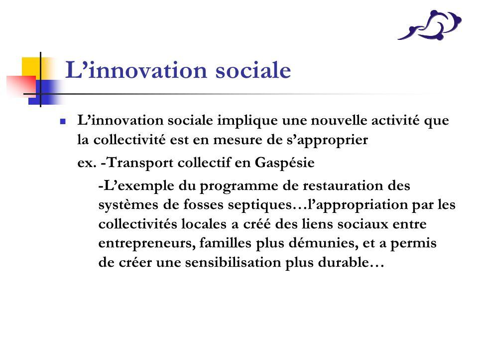 Linnovation sociale Linnovation sociale implique une nouvelle activité que la collectivité est en mesure de sapproprier ex. -Transport collectif en Ga