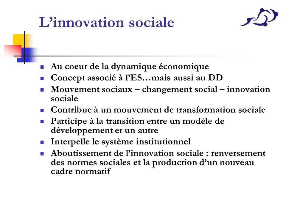 Linnovation sociale Au coeur de la dynamique économique Concept associé à lES…mais aussi au DD Mouvement sociaux – changement social – innovation soci