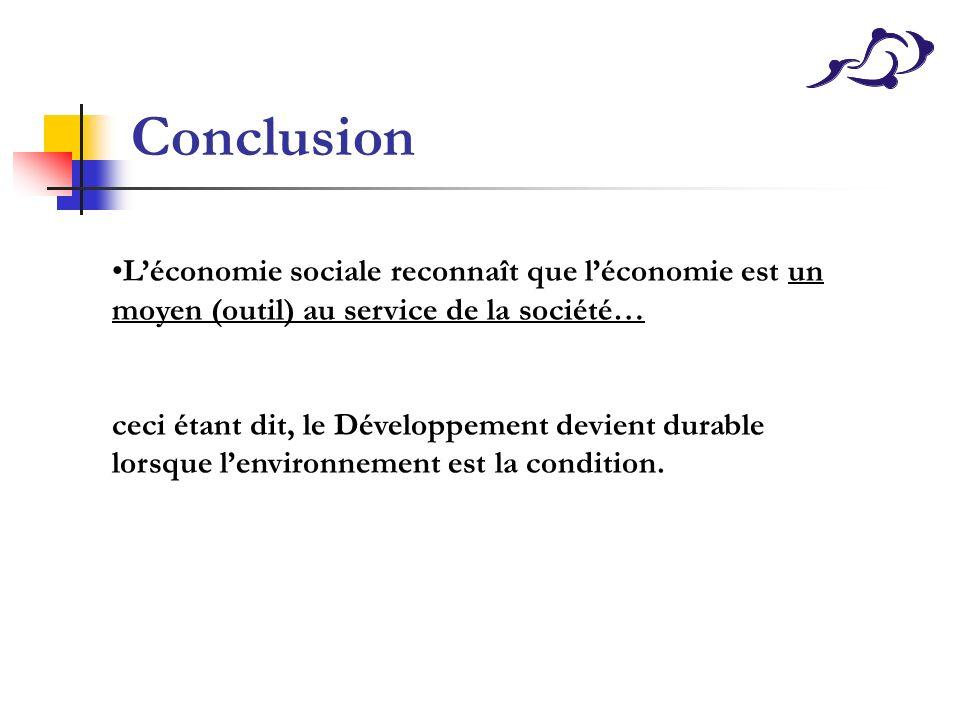 Conclusion Léconomie sociale reconnaît que léconomie est un moyen (outil) au service de la société… ceci étant dit, le Développement devient durable l