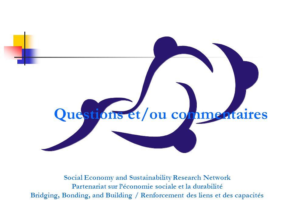 Questions et/ou commentaires Social Economy and Sustainability Research Network Partenariat sur léconomie sociale et la durabilité Bridging, Bonding,