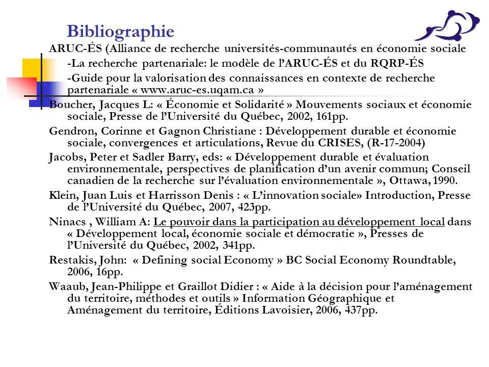 Bibliographie ARUC-ÉS (Alliance de recherche universités-communautés en économie sociale -La recherche partenariale: le modèle de lARUC-ÉS et du RQRP-