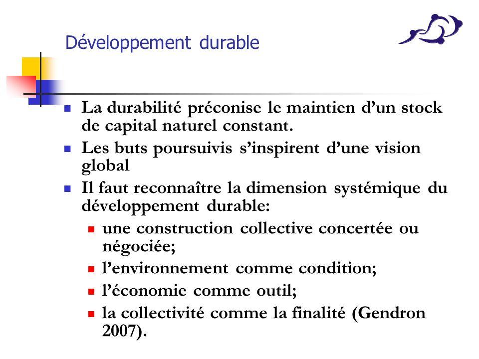 Développement durable La durabilité préconise le maintien dun stock de capital naturel constant. Les buts poursuivis sinspirent dune vision global Il
