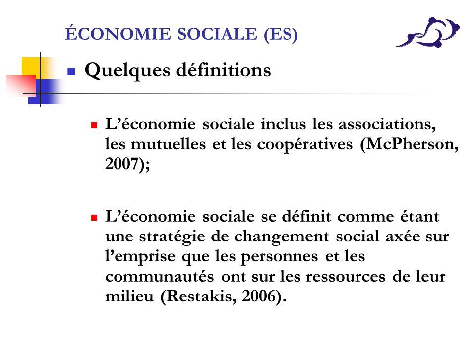 ÉCONOMIE SOCIALE (ES) Quelques définitions Léconomie sociale inclus les associations, les mutuelles et les coopératives (McPherson, 2007); Léconomie s