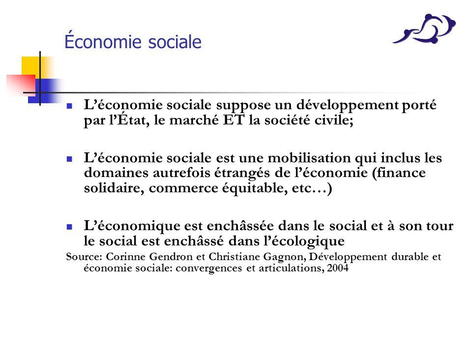 Économie sociale Léconomie sociale suppose un développement porté par lÉtat, le marché ET la société civile; Léconomie sociale est une mobilisation qu