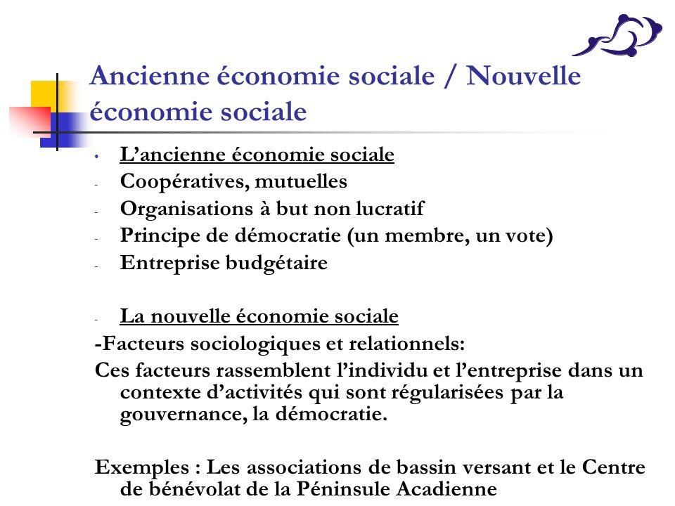 Ancienne économie sociale / Nouvelle économie sociale Lancienne économie sociale - Coopératives, mutuelles - Organisations à but non lucratif - Princi