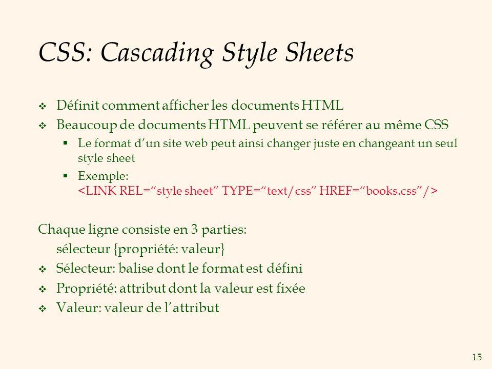 15 CSS: Cascading Style Sheets Définit comment afficher les documents HTML Beaucoup de documents HTML peuvent se référer au même CSS Le format dun sit