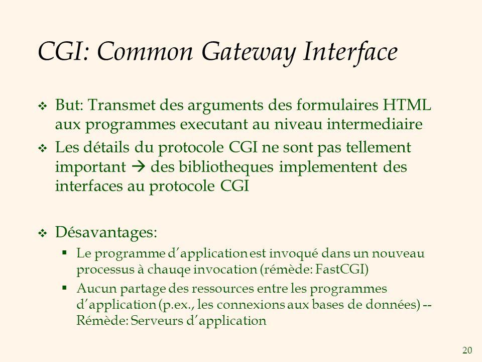 20 CGI: Common Gateway Interface But: Transmet des arguments des formulaires HTML aux programmes executant au niveau intermediaire Les détails du prot