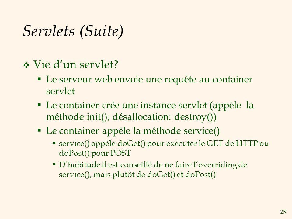 25 Servlets (Suite) Vie dun servlet? Le serveur web envoie une requête au container servlet Le container crée une instance servlet (appèle la méthode