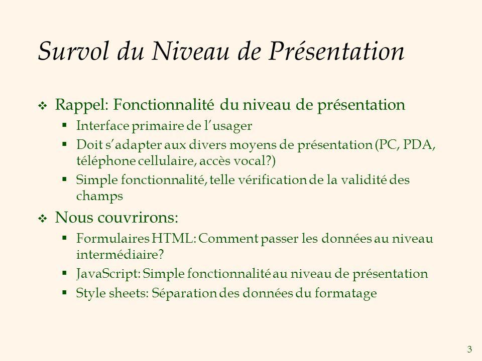 3 Survol du Niveau de Présentation Rappel: Fonctionnalité du niveau de présentation Interface primaire de lusager Doit sadapter aux divers moyens de p