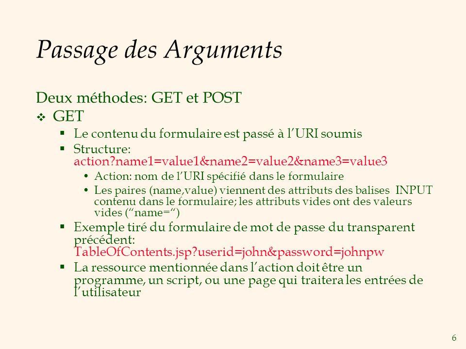 6 Passage des Arguments Deux méthodes: GET et POST GET Le contenu du formulaire est passé à lURI soumis Structure: action?name1=value1&name2=value2&na