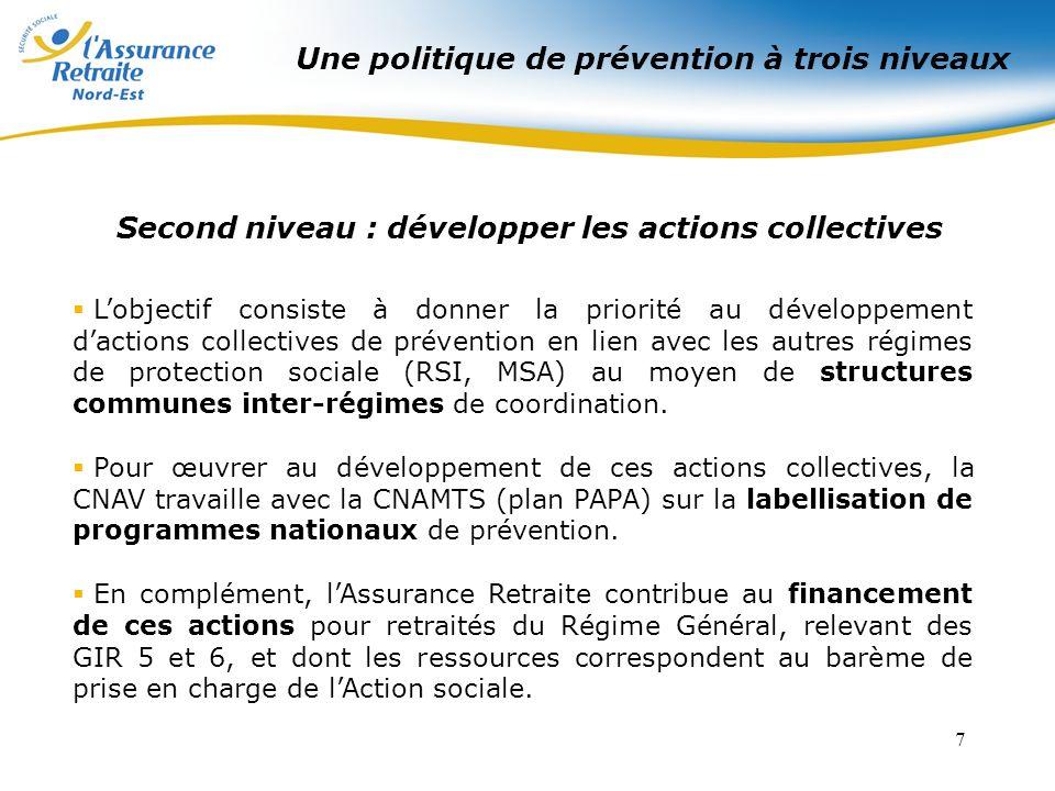 7 Second niveau : développer les actions collectives Lobjectif consiste à donner la priorité au développement dactions collectives de prévention en lien avec les autres régimes de protection sociale (RSI, MSA) au moyen de structures communes inter-régimes de coordination.
