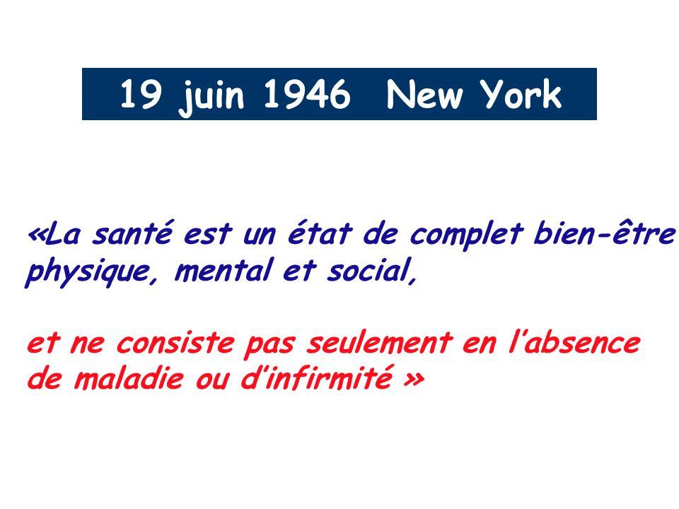 19 juin 1946 New York «La santé est un état de complet bien-être physique, mental et social, et ne consiste pas seulement en labsence de maladie ou di
