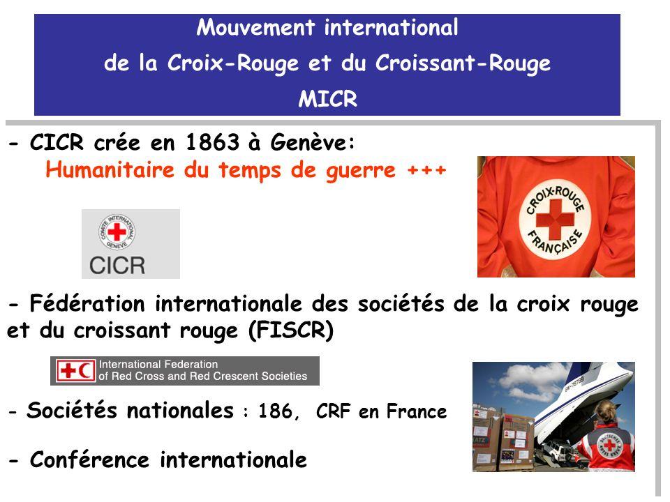 - CICR crée en 1863 à Genève: Humanitaire du temps de guerre +++ - Fédération internationale des sociétés de la croix rouge et du croissant rouge (FIS